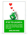 Love the earth concept, 3d man hugging green globe on white background Ad Template