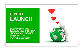 Love the earth concept, 3d man hugging green globe on white background Business Card Template