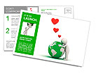 Love the earth concept, 3d man hugging green globe on white background Postcard Template