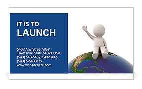 3d human sitting on the planet and waving Business Card Template