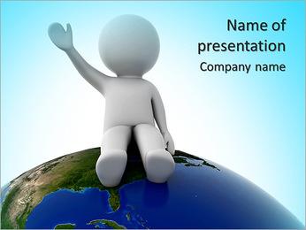 3d humano sentado no planeta e acenando Modelos de apresentações PowerPoint