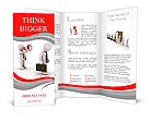 3d businessman with megaphone shouting to another walking away Brochure Template