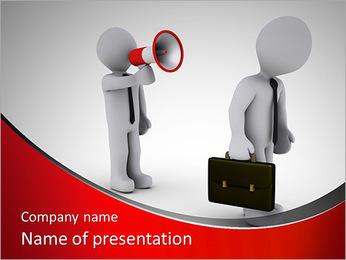 Homem de negócios 3d com o megafone gritando para outro andar longe Modelos de apresentações PowerPoint