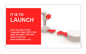 3d people - men, person and last piece of puzzle - jigsaw. Business Card Template