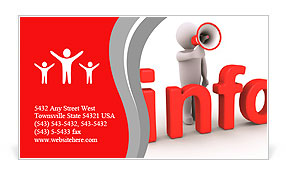 3d person with megaphone is behind info letters Business Card Templates