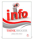 3d person with megaphone is behind info letters Poster Templates