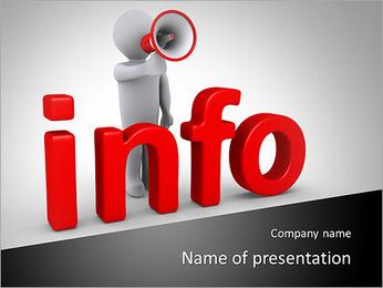 Pessoa 3d com o megafone está atrás de informações letras Modelos de apresentações PowerPoint