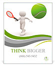3d people - man, person with tennis racket and ball. Tennis player Poster Template