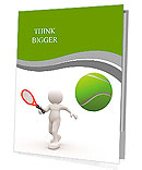 3d people - man, person with tennis racket and ball. Tennis player Presentation Folder