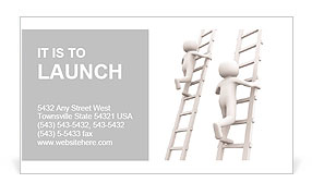 Competition and ladders. 3d rendered illustration. Business Card Template