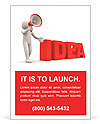 "3d person with a megaphone and word "" Idea"" - 3d render illustration Ad Template"