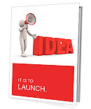 "3d person with a megaphone and word "" Idea"" - 3d render illustration Presentation Folder"