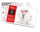 3d human head and a open zipper. A abstract conceptual image about human thinking. Postcard Template
