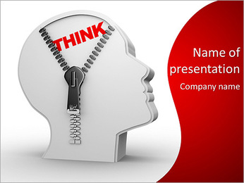 3d human head and a open zipper. A abstract conceptual image about human thinking. PowerPoint Template