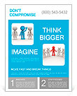 3d people - men, person in group. Leadership and team Flyer Template