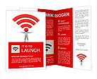 3d illustration of person and wifi icon Brochure Templates