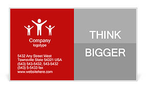 3d people - men, person pushing red arrow. Concept of solution. Business Card Template