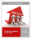 3d people - men, person pushing red arrow. Concept of solution. Word Template