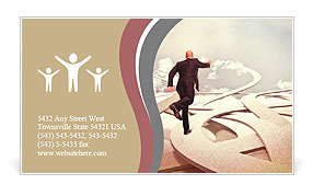 Business people on 3d abstract way Business Card Templates