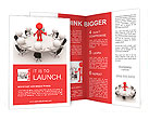 3d people - men, person at conference table. Leadership and team Brochure Templates