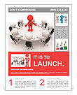 3d people - men, person at conference table. Leadership and team Flyer Template