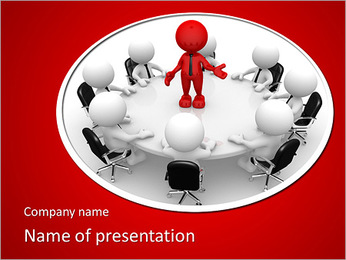 3d people - men, person at conference table. Leadership and team PowerPoint Template