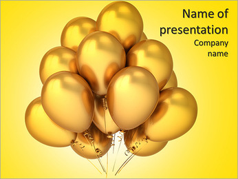 Gold birthday balloons luxury golden. Glamour modern party decoration. Merry Christmas Happy New Yea PowerPoint Template