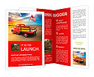 Red vintage pick up truck with American flag in wide open country side with dramatic sunset cloudsca Brochure Templates