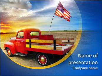 Red vintage pick up truck with American flag in wide open country side with dramatic sunset cloudsca PowerPoint Template