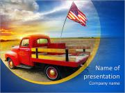Red vintage pick up truck with American flag in wide open country side with dramatic sunset cloudsca PowerPoint Templates