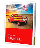 Red vintage pick up truck with American flag in wide open country side with dramatic sunset cloudsca Presentation Folder