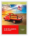 Red vintage pick up truck with American flag in wide open country side with dramatic sunset cloudsca Word Templates