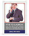 Portrait of a happy young business man checking time while speaking on cellphone Ad Template