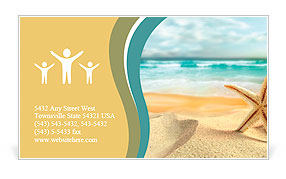 Starfish on the Beach. Business Card Template