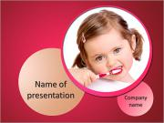 Little girl brushing her teeth isolated on white background PowerPoint Templates