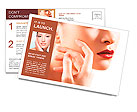 Portrait of sensual woman model with fashion bright red lips make-up, clean healthy skin Postcard Templates