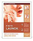 Portrait of sensual woman model with fashion bright red lips make-up, clean healthy skin Poster Templates