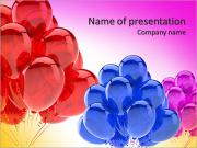 Rode partij ballonnen doorschijnend Gelukkige Verjaardag vieren vakantie gelegenheid decoratie. Vreugde geluk f Sjablonen PowerPoint presentaties