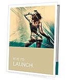 Dancing girl. Polyethylene film disco party. Art photo Presentation Folder