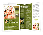 Portrait of beautiful young girl outdoors in spring Brochure Templates