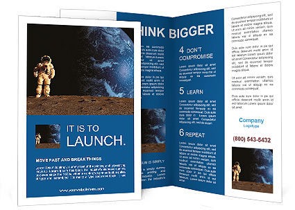 The Astronaut On A Background Of A Planet Brochure Template Design