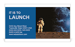 The astronaut on a background of a planet Business Card Template