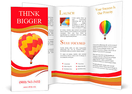 Red And Yellow Hot Air Balloon Isolated On White Brochure Template