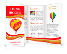 Red and yellow hot air balloon isolated on white. Brochure Template