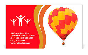 Red and yellow hot air balloon isolated on white. Business Card Templates