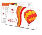Red and yellow hot air balloon isolated on white. Postcard Template