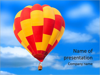Red and yellow hot air balloon isolated on white. PowerPoint Template