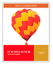 Red and yellow hot air balloon isolated on white. Word Templates