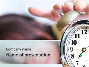 A woman is sleeping with an alarm clock in front PowerPoint Template