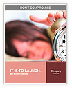 A woman is sleeping with an alarm clock in front Word Templates